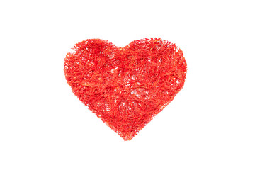 wicker heart valentine on white background