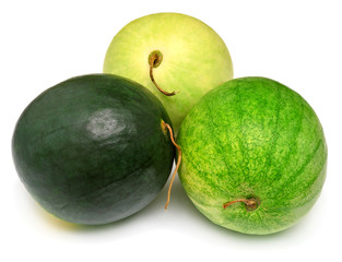 Three watermelons of different kinds
