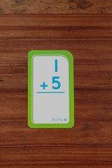 Math flash card with addition problem