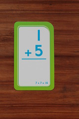 Math flash card with addition problem