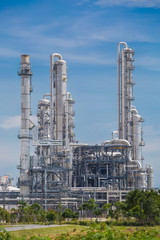 Architecture of Chemical refinery plant with blue sky