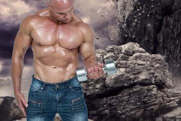 Composite image of bald man lifting dumbbells
