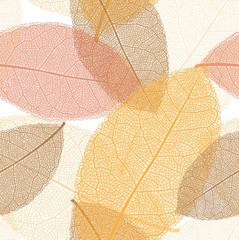 Seamless pattern from autumn leaves with thread