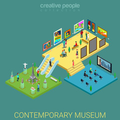 Contemporary art museum interior floors flat 3d isometric vector