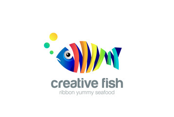 Ribbon Fish abstract Logo design vector. Seafood Logotype icon