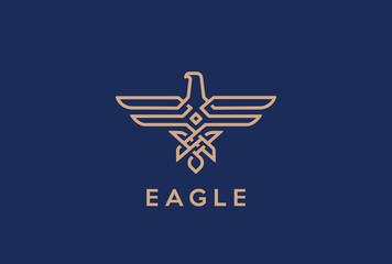 Eagle Logo Linear. Falcon outline jewelry fashion Heraldic