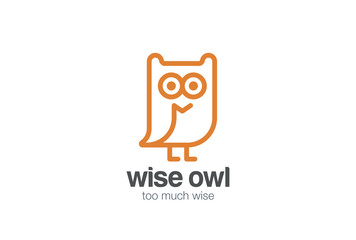 Funny Owl Logo design vector linear. Bird Fun Line-art icon
