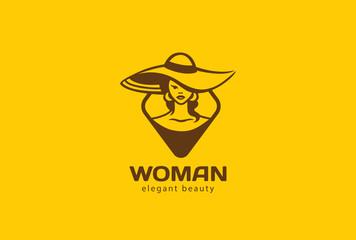 Beautiful Woman Logo design. Beauty Fashion Salon Lady icon