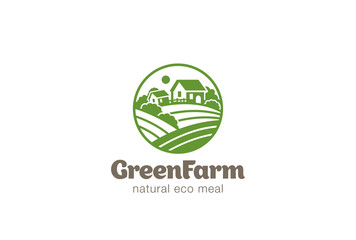 Eco Green Farm Circle Logo design. Natural Organic food icon