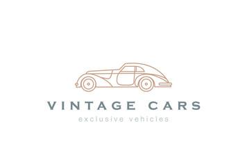 Vintage Car abstract Logo design linear. Retro Vehicle icon