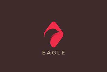 Bird Eagle Head Logo design Negative space. Falcon flat icon