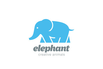 Walking Elephant Logo design vector. Africa Zoo Safari Icon