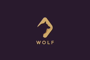 Wolf Head Logo design Negative space style. Dog zoo flat icon