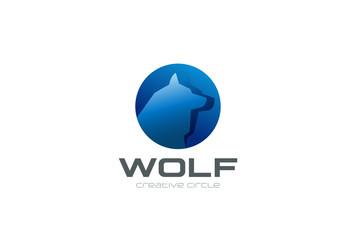 Wolf Head in circle Logo design. Dog Logotype zoo flat icon