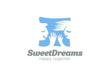 Couple Sleeping on Pillow Logo design vector icon negative space