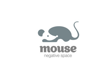 Mouse Logo design vector negative space. Rat silhouette icon