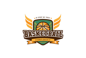 Basketball Badge Logo Design. T-shirt Sport Team Identity Label
