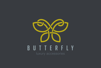 Butterfly Jewelry Logo design vector linear Luxury accessories