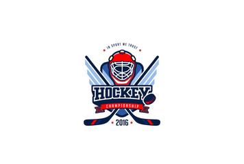 Hockey Badge Logo Design. Graphics Sport Team Identity Label