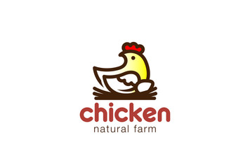 Chicken sitting Nest Logo design. Eco Natural Farm Logotype icon