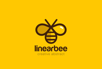 Bee Logo design vector linear style. Creative Hive Logotype