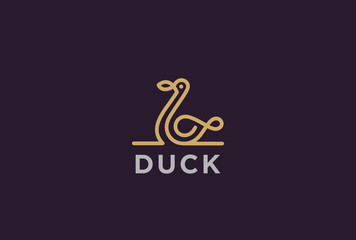 Swan Duck Logo design vector Linear. Luxury lineart icon Bird