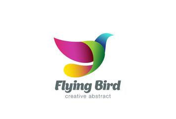 Flying Bird Abstract Logo design vector. Colorful Dove icon