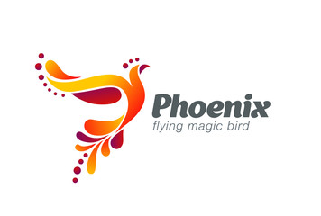 Magic Fairy Bird Abstract Logo design vector Flying Phoenix icon
