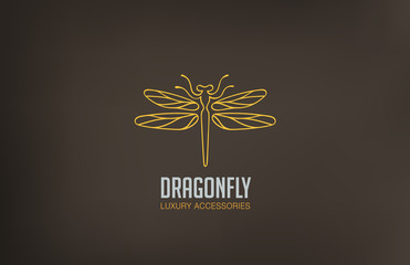 Dragonfly Logo design vector linear. Luxury Logotype icon