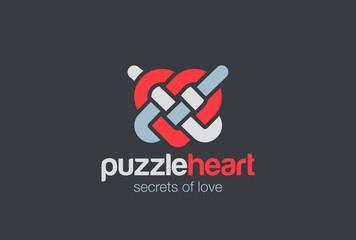 Heart Knot Abstract Logo design vector. Linear Logotype icon