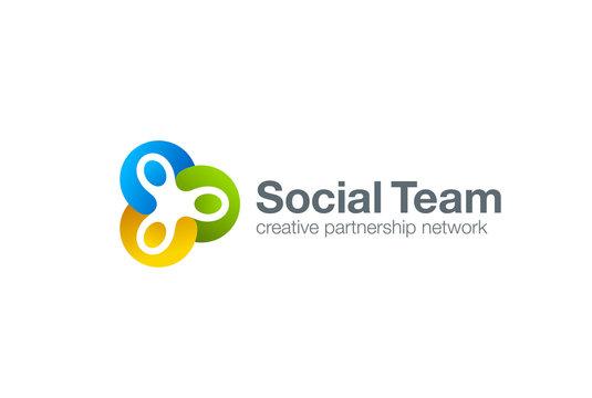 Team work Social Logo. Men holding hands. Friendship teamwork