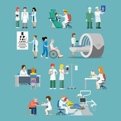 Hospital profession patient flat 3d isometric medical vector