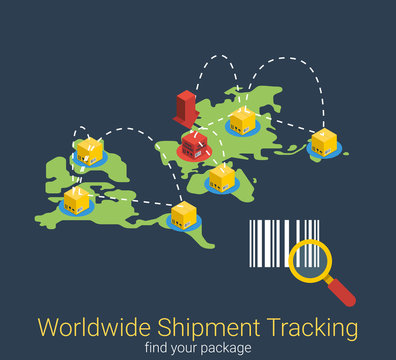 Tracking shipment worldwide search shipping 3d isometric vector