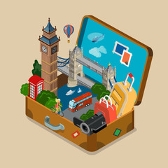 Suitcase sights landmarks vacation travel flat isometric vector