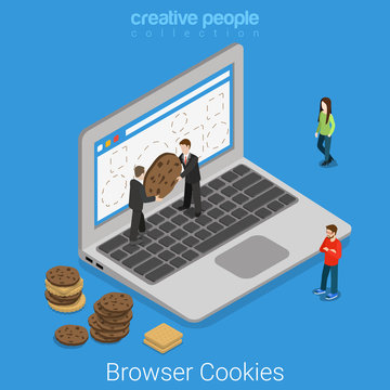 Laptop browser cookie internet technology flat isometric vector