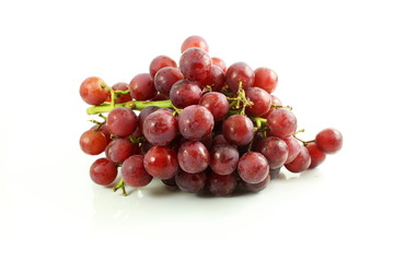 red grape bunch in white background