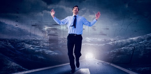 Composite image of happy businessman running with hands up