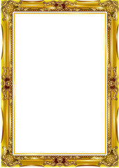 gold photo frame floral for picture, vector
