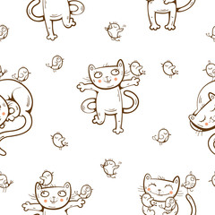Vector seamless pattern with cute cartoon cats and birds on white  background.