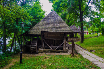 The old wooden mill,village museum,Bucharest,Romania,Europe