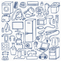 Household appliances hand drawn set