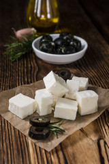 Pieces of fresh feta cheese