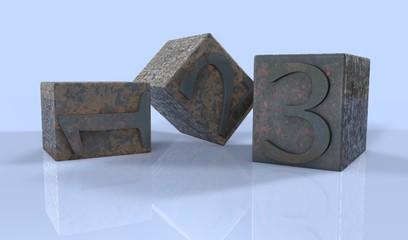 1, 2, 3 Sayılar 3D Tipografi