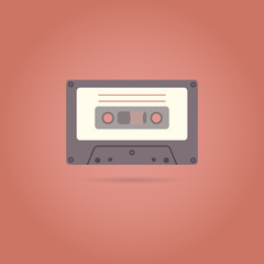 Cassette flat style icon. Vector illustration.