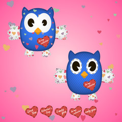 owlet blue in the hearts and on the wings