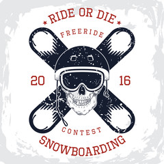Snowboarding king t-shirt graphic. Design of the vector typographic of t-shirts and for other uses. Vector illustration.