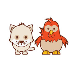 Cat & Chicken. Cute Animal Illustration 6