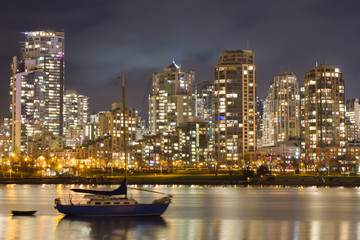 Wall Mural - Vancouver Skyline and Sailboat