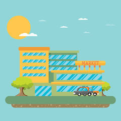 Supermarket building facade, flat vector illustration.