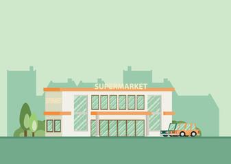 Supermarket building facade, flat vector illustration.
